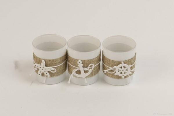 Teelichtglas 3er Set maritim