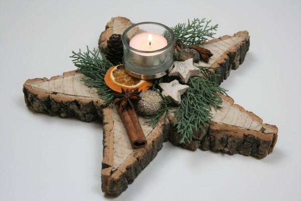 Weihnachtsstern Holz mit Deko